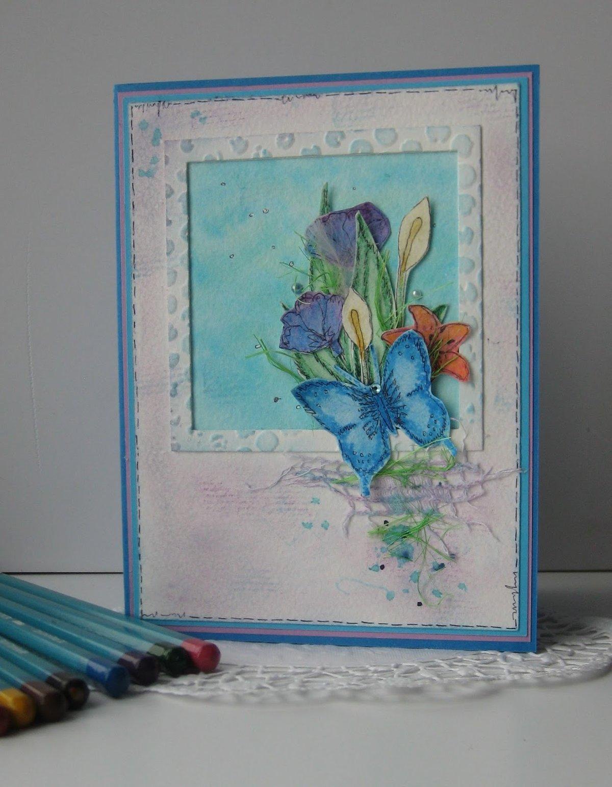 Открытки акварельными карандашами, мая