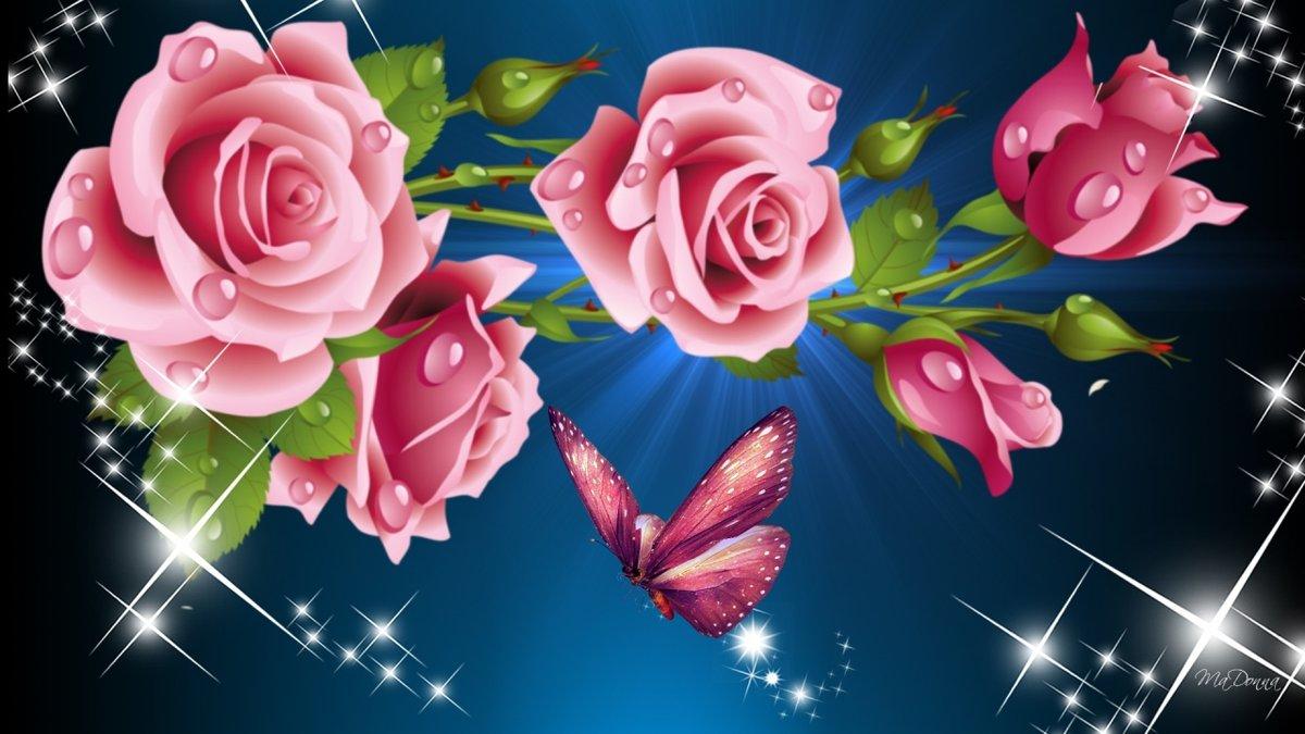 На телефон живые картинки с розами цветок