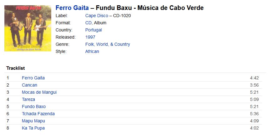 Ferro Gaita - Fundu Baxu - Música de Cabo Verde (CD, Album) at ... S1200
