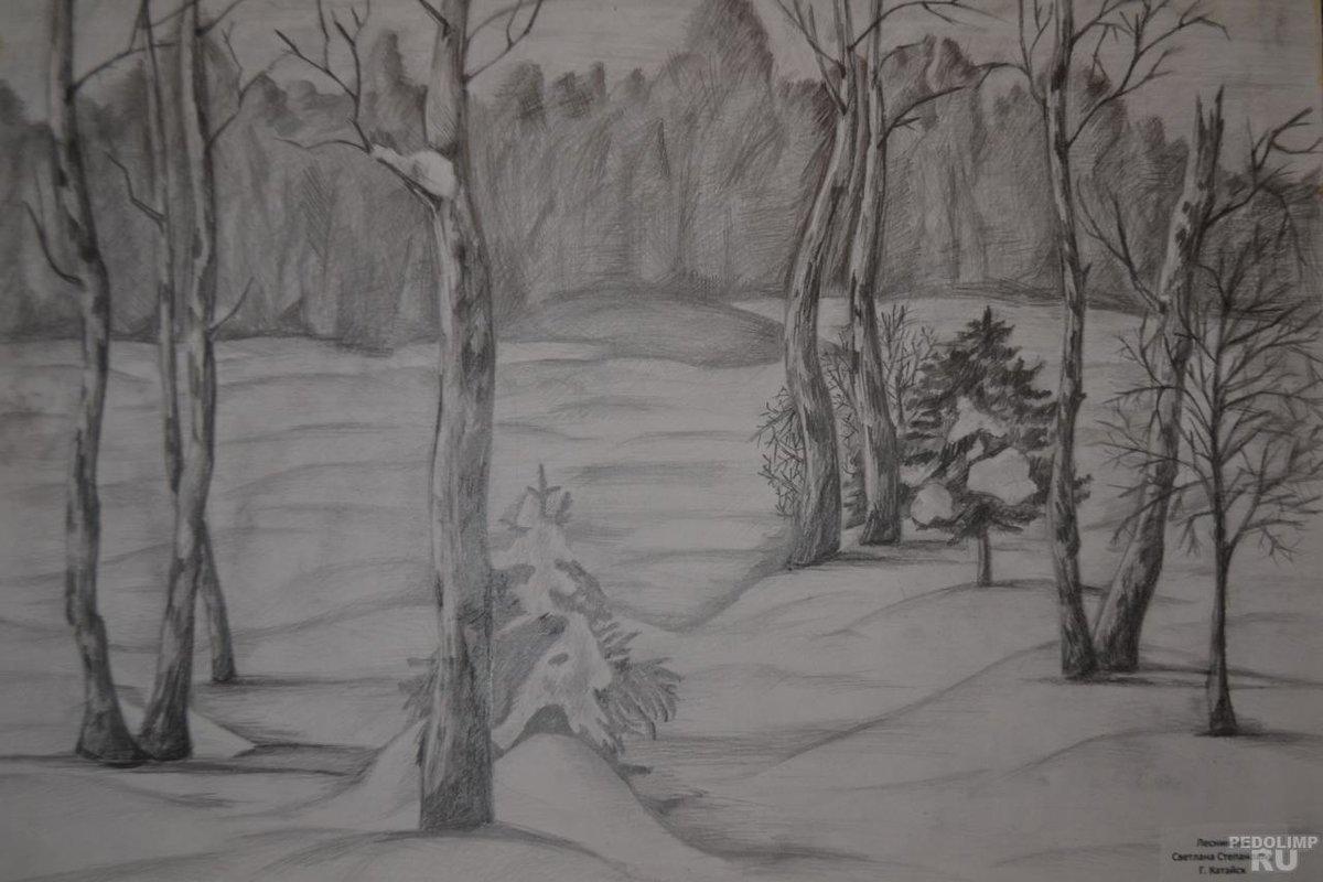 зимний пейзаж картинки карандашом для изо