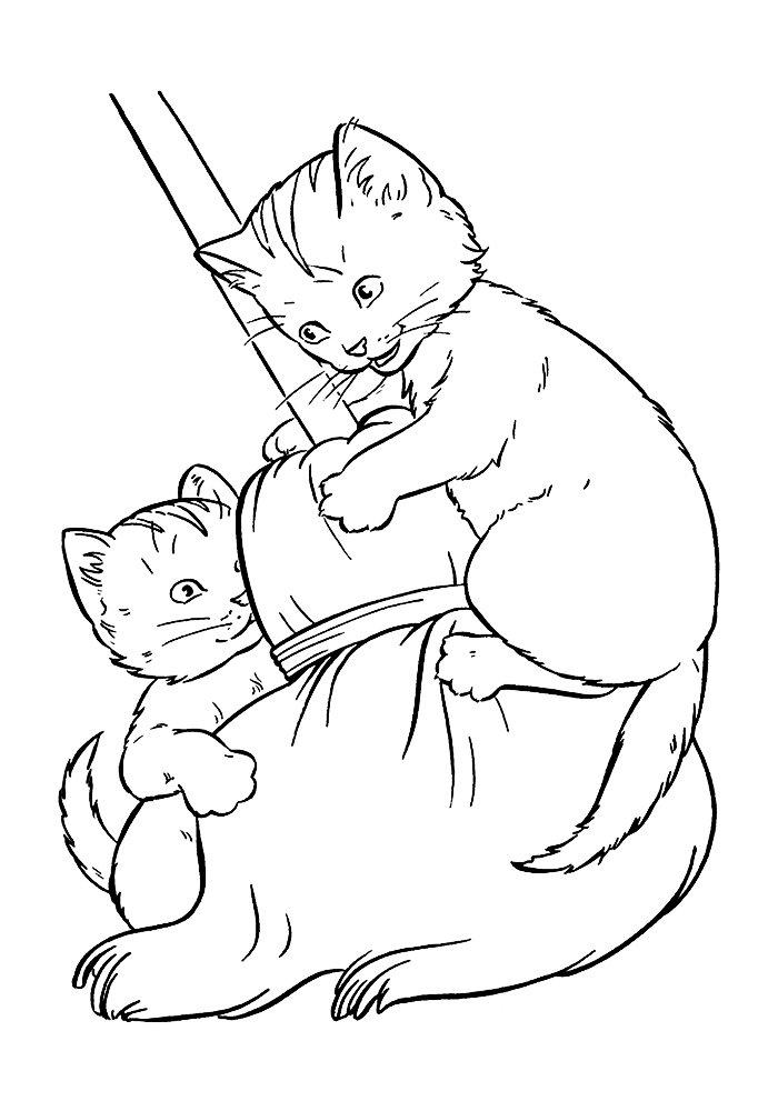 Юбилеем лет, картинки кошки с котятами для раскрашивания