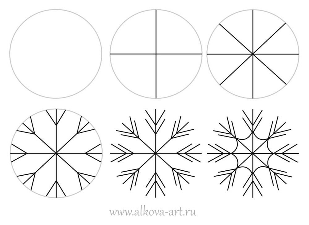 Снежинки картинки простые нарисовать