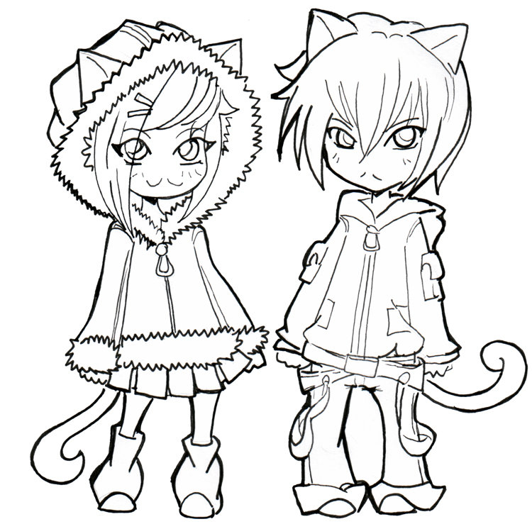 Anime Neko Couple Coloring Pages Sketch Coloring Page Card From