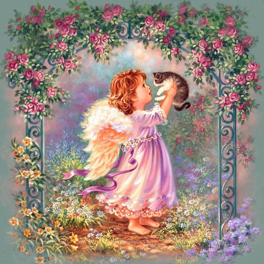 Надписью всегда, открытки с цветами и ангелочками