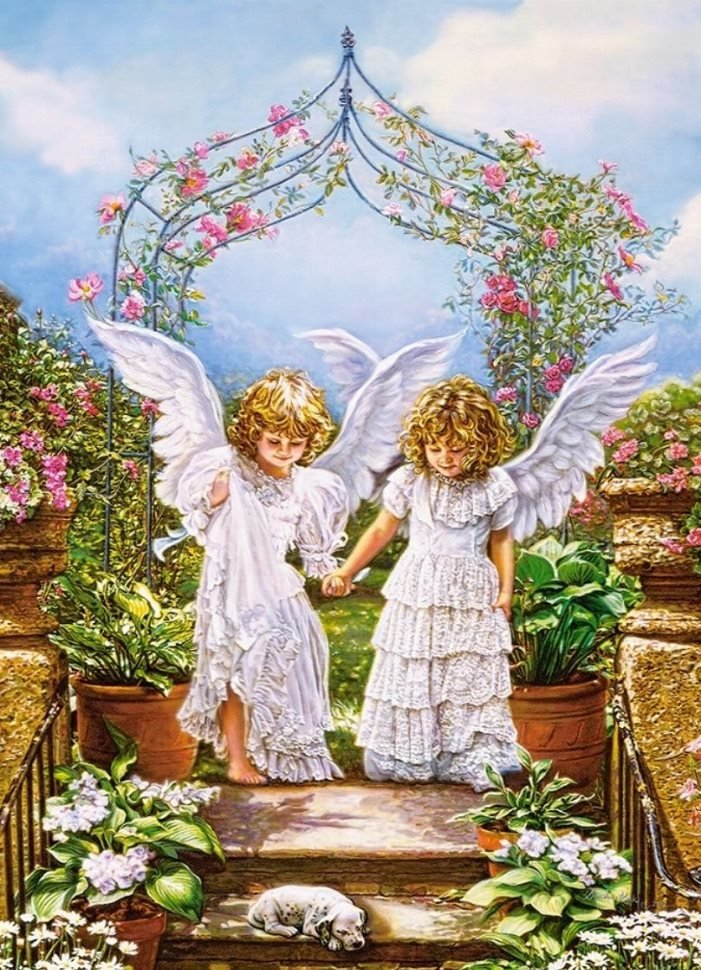 Открытка два ангелочка