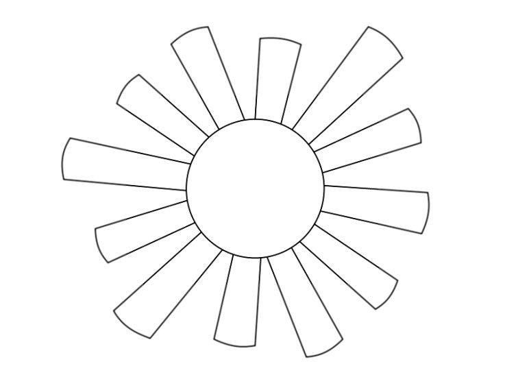 картинка для раскрашивания солнце вискозной ткани низким