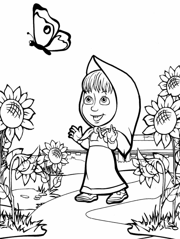 «Раскраска Маша и Медведь. Маша с бабочкой» — карточка ...