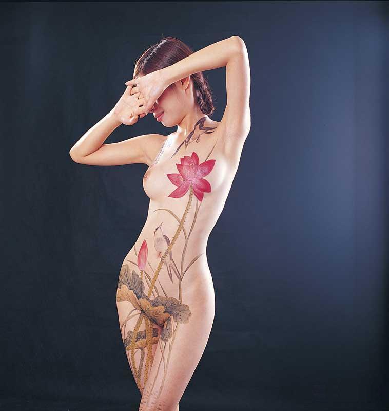 Softcore tube erotic japanese body painting