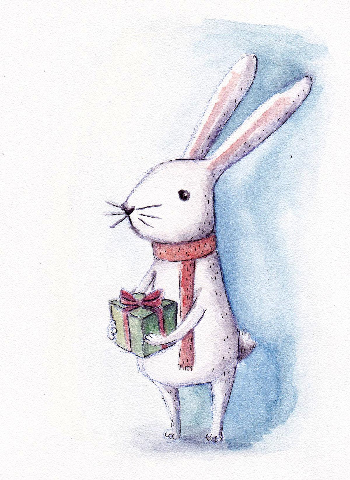Открытка, новогодние открытки рисунки акварелью
