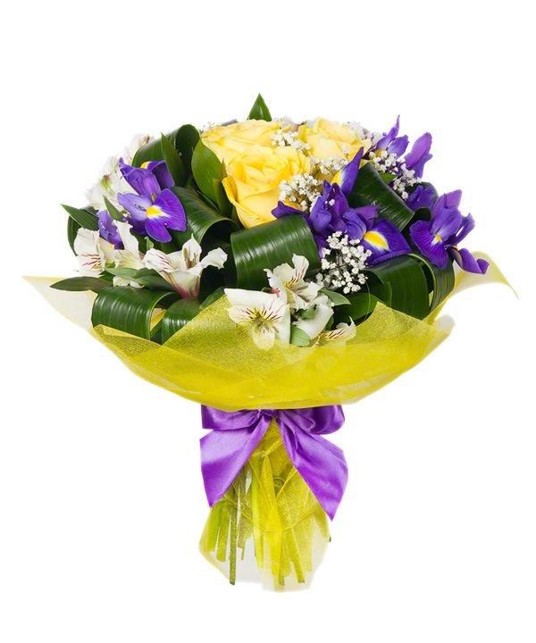 Цветов, собрать букет из альстромерии и ирисов