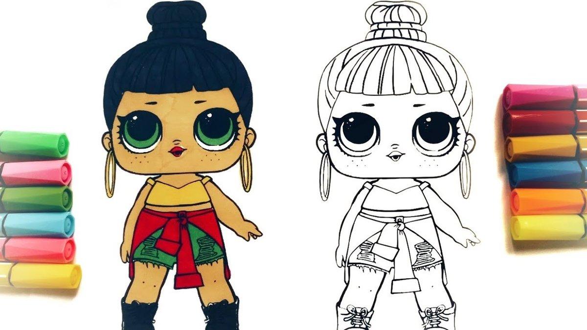 Draw lol doll honey bun cute coloring page lol doll раскраск