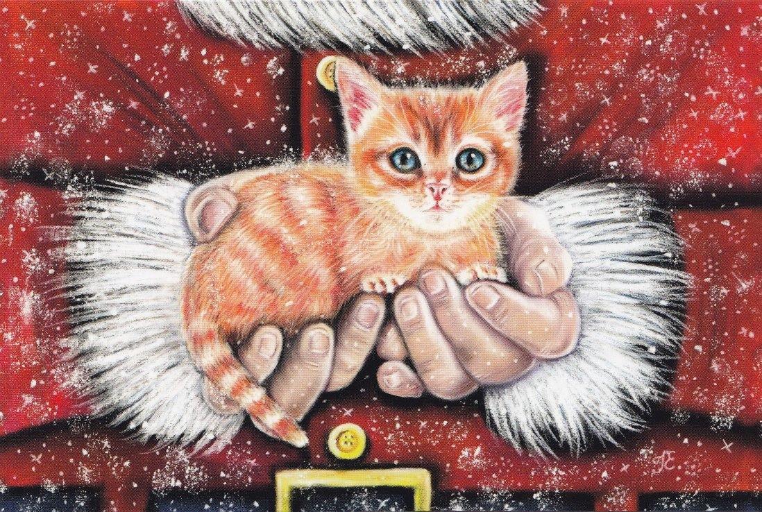 Для поздравления, открытка новый год коты