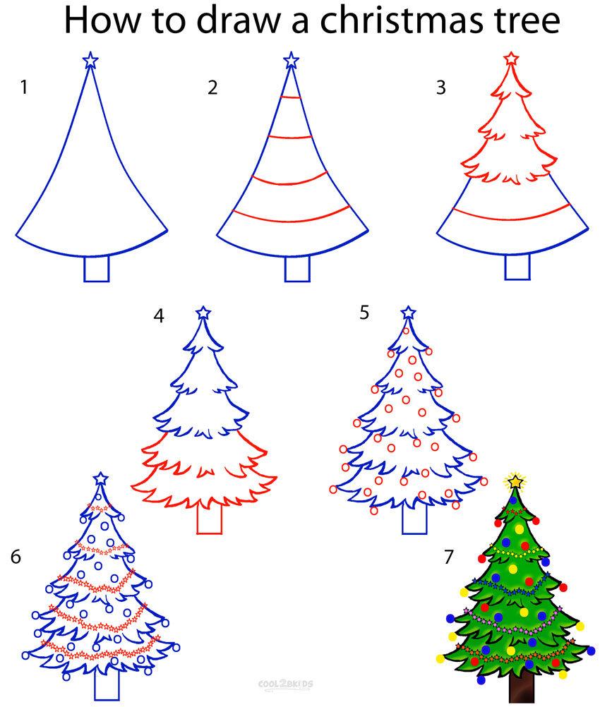 Приколы для, картинки как нарисовать елку карандашом
