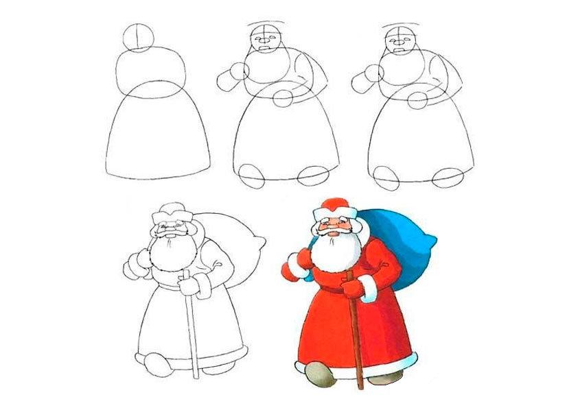 Как нарисовать новогоднюю открытку поэтапно детям