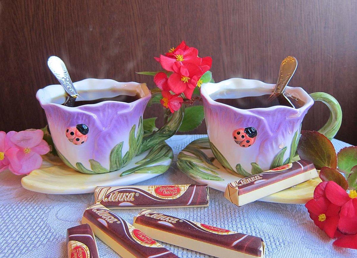 Днем рождения, открытка чай на двоих