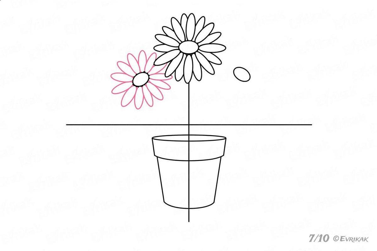 Картинки как нарисовать цветок в горшке