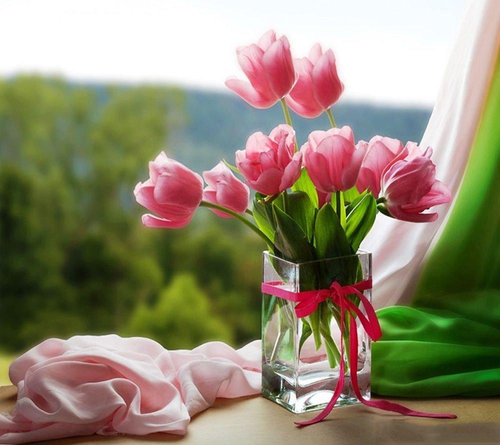 Доброе утро открытка с тюльпанами, днем