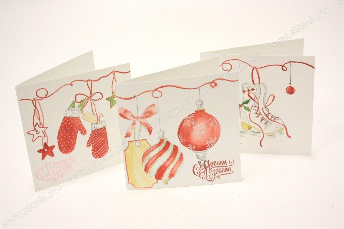 Как рисовать новогодние открытки акварелью