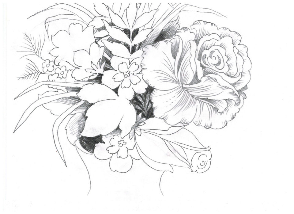 Цветы карандашом открытка