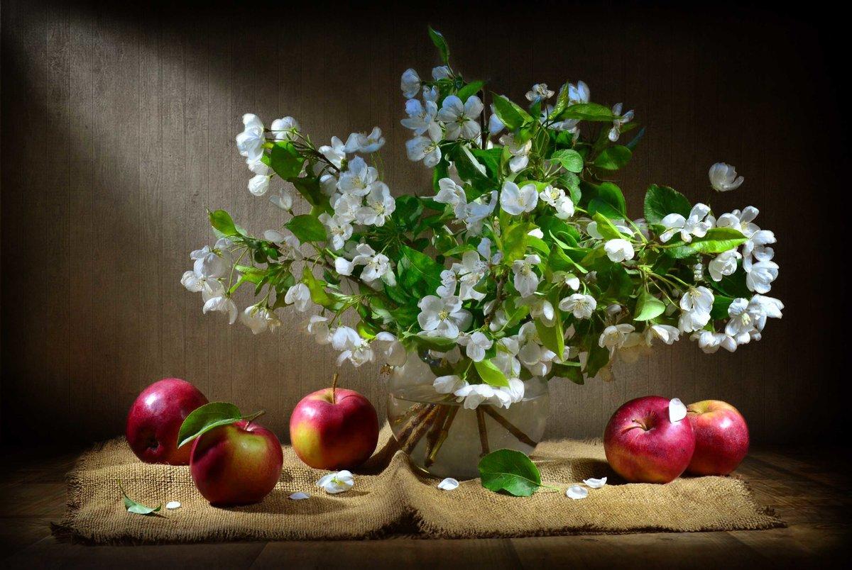 Натюрморт яблока в цвете