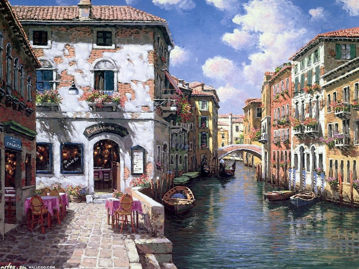 Эльфы, картинка с венецией нарисованная