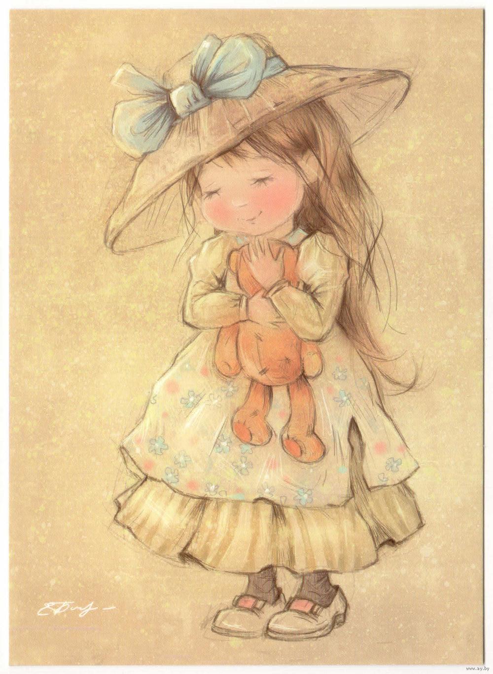 Открытка милые девочки, картинки пасхе