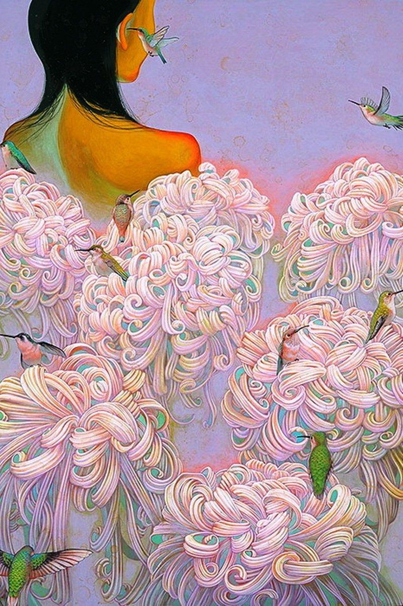 Женские портреты в окружении хризантем.Иллюстратор из Японии