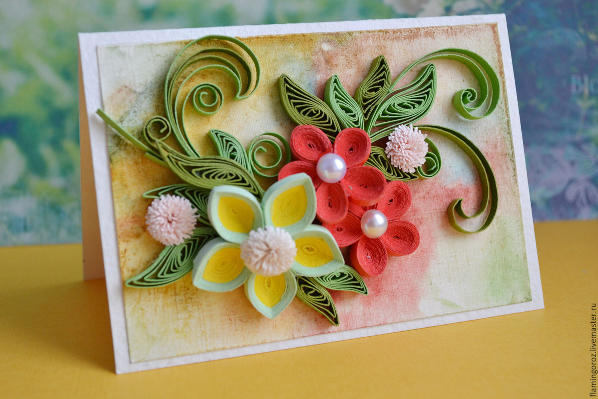 Как украсить открытку квиллингом