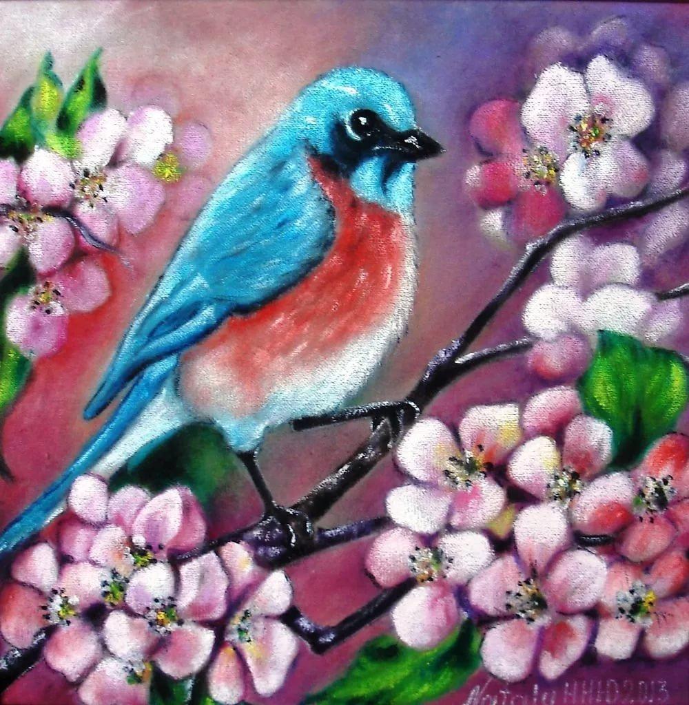 совместной птица на ветке рисунок красками кто-то них