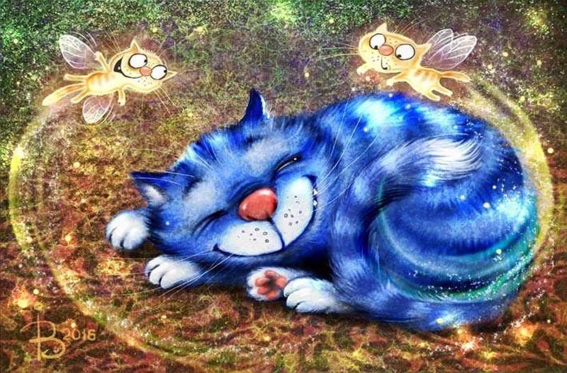 Картинки спокойной ночи с котиками прикольные нарисованные