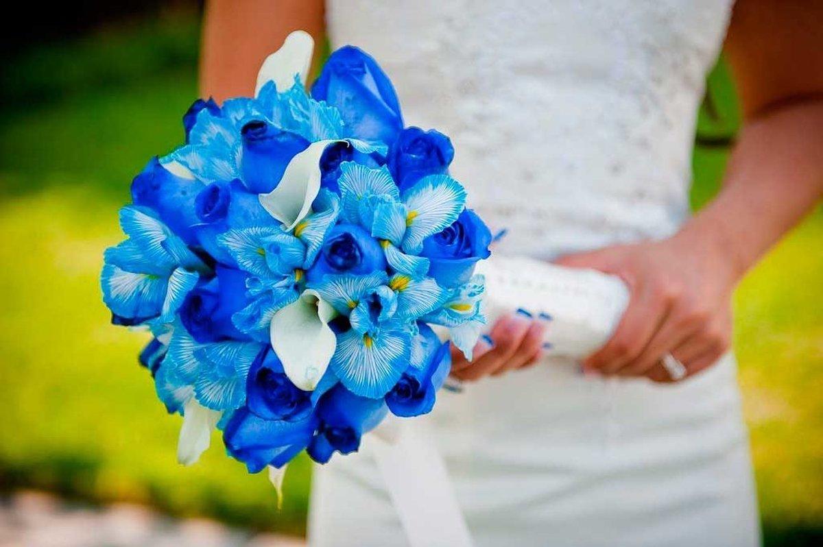 Дешевые, букет невесты синий или голубой