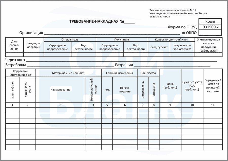 ТРЕБОВАНИЕ-НАКЛАДНАЯ ФОРМА М-11 В EXCEL СКАЧАТЬ БЕСПЛАТНО