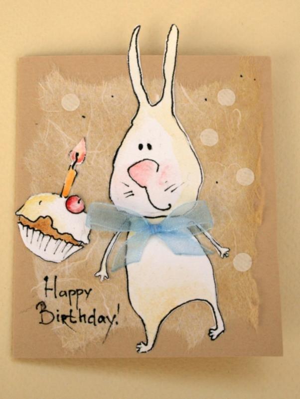 Картинки, прикольные открытки с днем рождения с кроликами