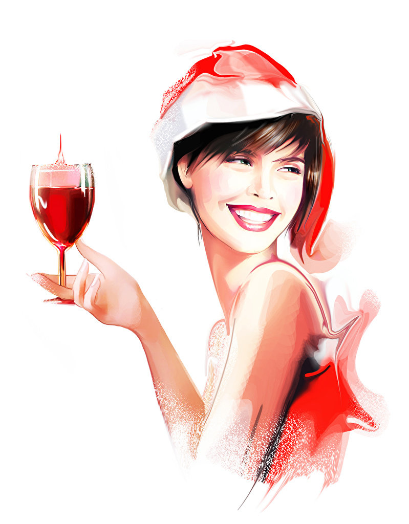 Девушка с бокалом шампанского рисунок