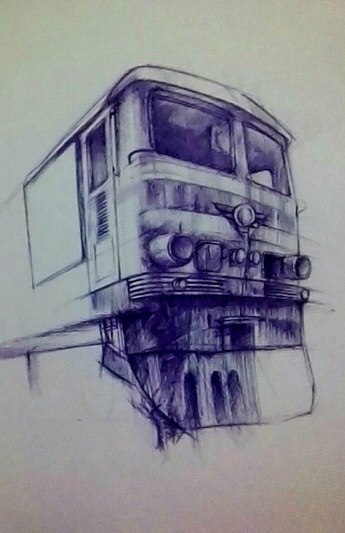 поезд рисунки ручкой этой статье