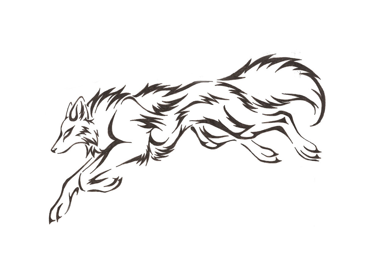 Маленькие картинки волка черно белые