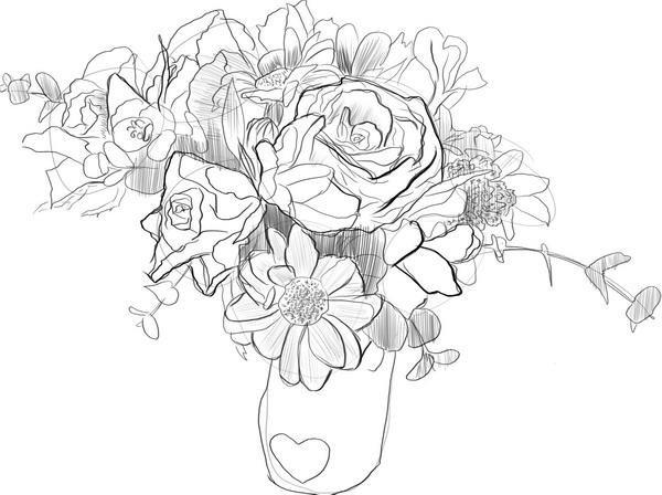 Как нарисовать открытку с цветами поэтапно на день рождения