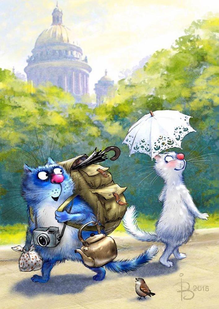 Голубой кот открытки, старинная марта