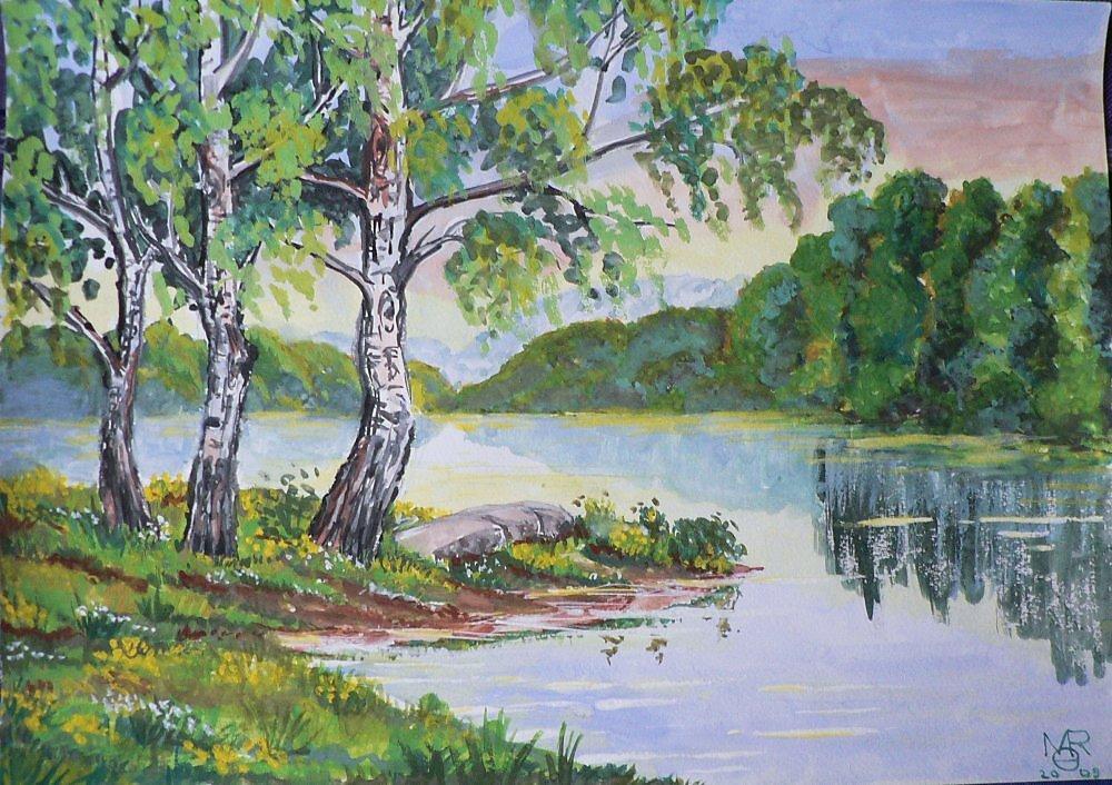 Красивые рисунки гуашью природа для начинающих поэтапно, марта елена