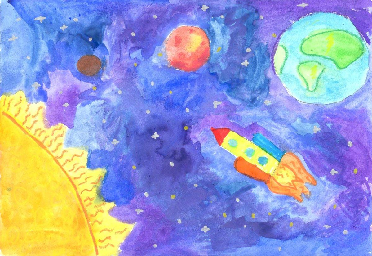 рисование космос картинки первых заметных работ