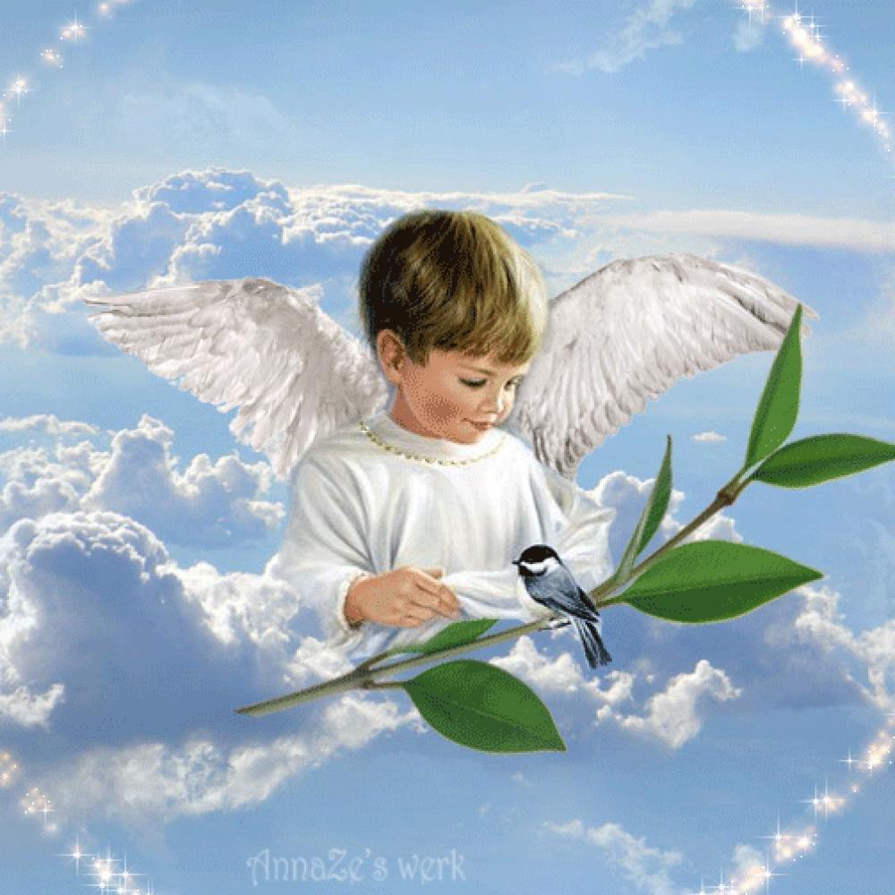 Открытка с ангелом хранителем в день рождения, цветами