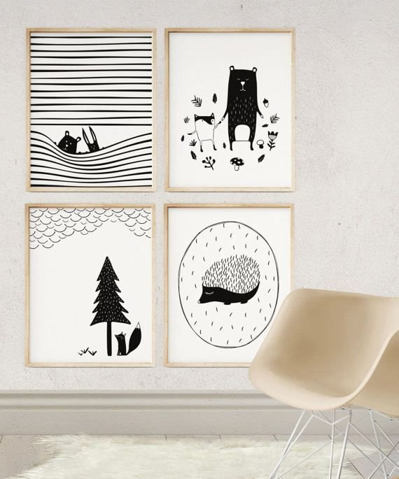 Постеры для скандинавского интерьера распечатать