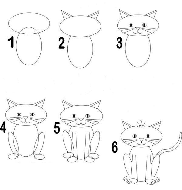 рисунки кота карандашом поэтапно для начинающих желаю