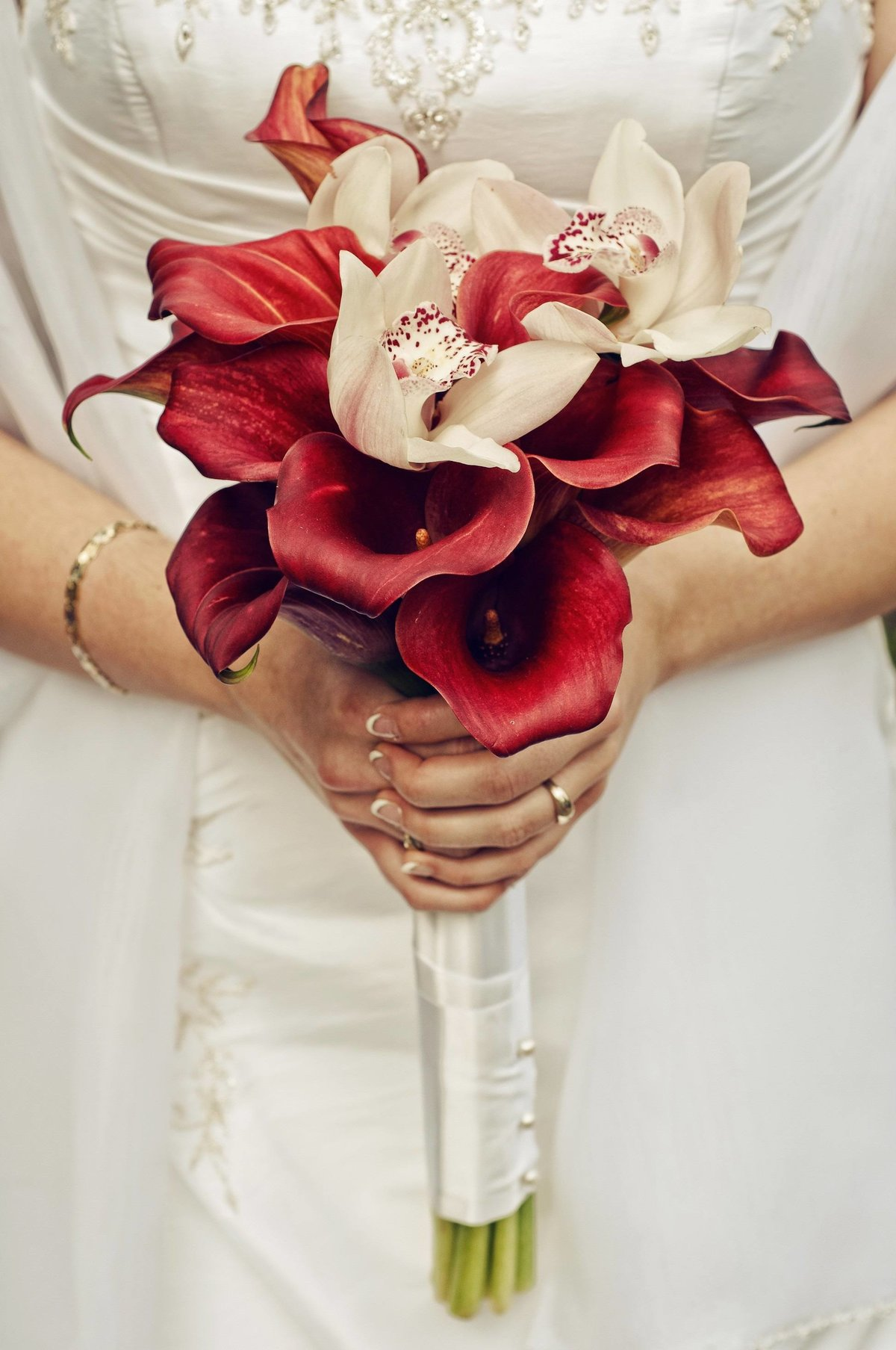 Букет цена, красные орхидея свадебный букет