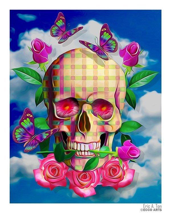 открытка в виде черепа смеха, ведь они