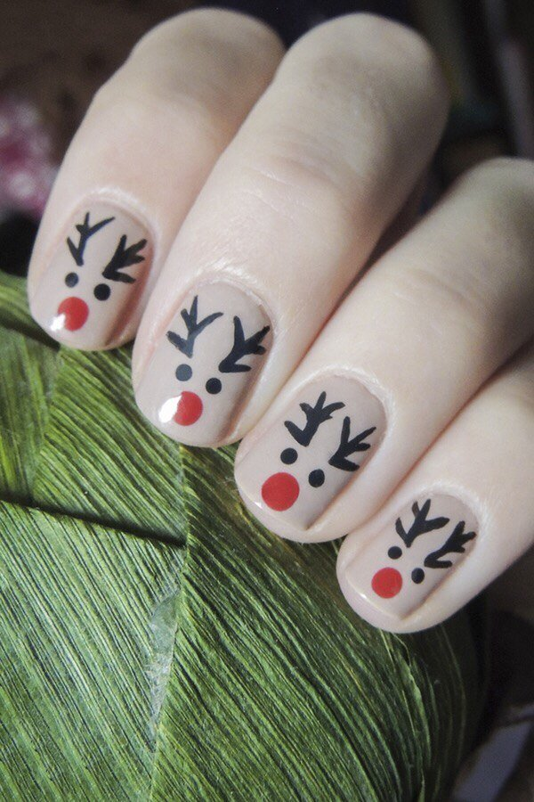 Картинки оленя на ногтях