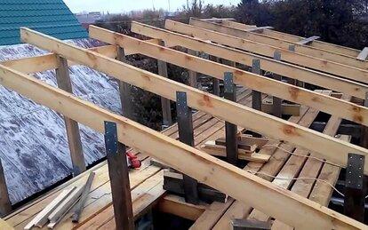 размер стропил для односкатной крыши