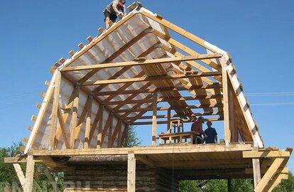 монтаж стропильной системы мансардной двухскатной крыши