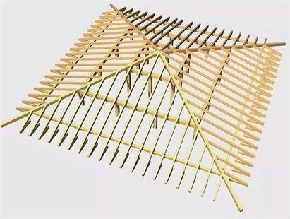 план стропильной системы четырехскатной крыши