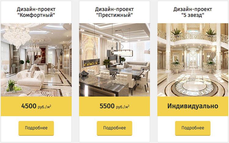 Цены на дизайн-проекты интерьера